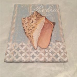 """Relax"" seashell canvas pictures CUTE!!"